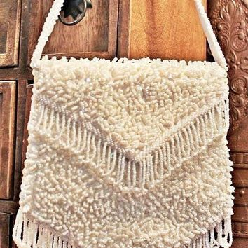 Vintage 1950s Fringe + Beaded Handbag