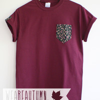 Maroon Tee with Midnight Floral Pocket