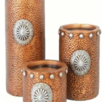 Cowgirl Kim Faux Hammered Copper with Concho Pillar Candle Holder Set