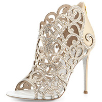 Scroll Laser-Cut Crystal 105mm Bootie, White