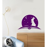 Vinyl Wall Decal Fairy Tale Open Book Magic Rabbit Baby Room Stickers (3864ig)