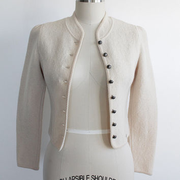 Vintage 80s Tailored Ivory Felted Wool Cardigan Sweater   xs 0