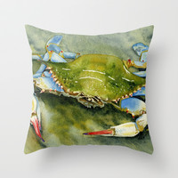 Blue Crab Throw Pillow by Brett Winn