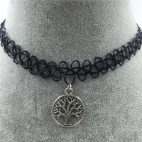 Tattoo Choker Necklace with Tree Pendant + Gift Box-31
