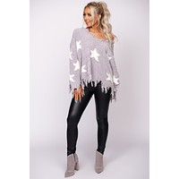 Just Be Yourself Chenille Star Print Fringe Sweater (Grey)