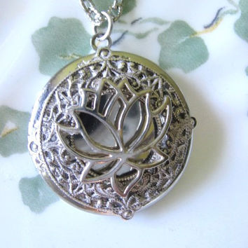 Lotus Flower, Locket, Silver Locket, Silver Lotus Necklace, Silver Lotus Pendant, Buddha Jewelry, Lotus Flower Jewelry,Asian Jewelry,Lockets