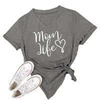 Women's Mom Life Gray Short Sleeve V-Neck T-shirt