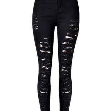 Black Extreme Ripped Skinny Jeans