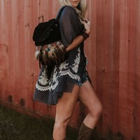 Festival Ready Feather Trim Backpack
