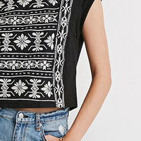 Cuffed-Sleeve Embroidery Top