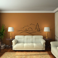 Pine Evergreen Tree Landscape with Mountains Vinyl Wall Decal Sticker
