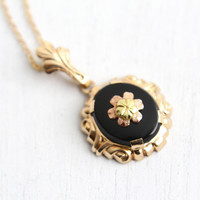 Vintage 10k Yellow & Rose Gold Black Onyx Flower Pendant Necklace - 1930s Hallmarked Esemco Two Tone Floral Gold Filled Chain Fine Jewelry