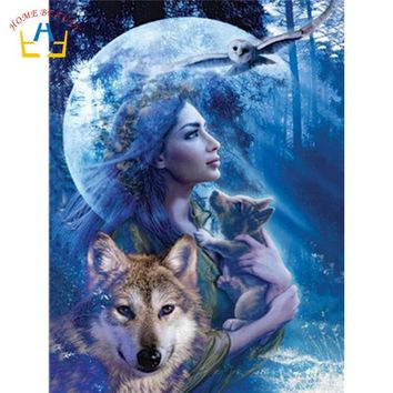 coloring by numbers on canvas with acrylic paints wall art paintings for the kitchen home decoration animals wolf women WY5274