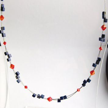 orange necklace, blue necklace, multi wire necklace, swarovski crystal necklace