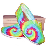 TOMS Tie Dye Shoes  hand dyed and custom made  by by 1GreatThing