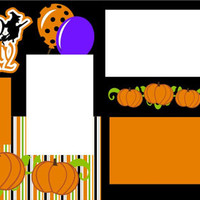 Handmade Premade 12X12 2-Page Scrapbook Page Layout-Halloween Party