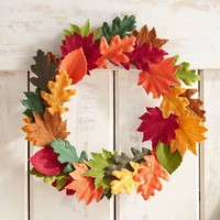 "Faux Aspen Multicolor Leaves 13"" Mini Wreath"