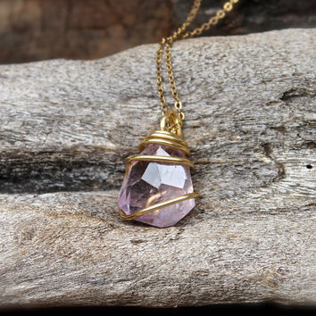Faceted Ametrine Necklace - Natural Ametrine Jewelry - Purple Gemstone Jewelry - Faceted Stone Necklace - Gypsy Jewelry Hippie Boho Necklace