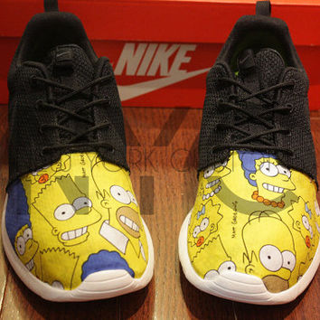 Nike Roshe Run Black White The Simpsons Print V5 Edition Custom Men & Women