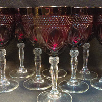 Ruby Red, Duran Crystal, D'argues Luminary Wine / Water Goblets / Vampire Goblets - Available   Eight Goblets ( 1328)