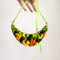 Statement Necklace Happy Vegetables, yellow orange and green, fruit and vegetables jewelry, bib chunky necklace, bright vegetarian jewelry