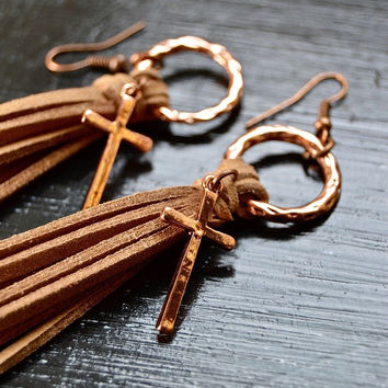 Copper Suede Cross Earrings