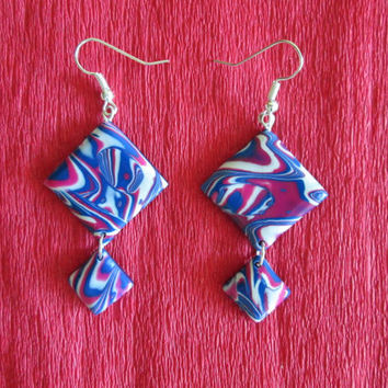 navy blue earrings,polymer clay jewelry,colorful earrings,summer earrings,boho jewelry,hippie earrings,gift for her,affordable jewelry gift