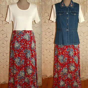 Country Boho Dress Red Blue Floral Dress Vest Dress NWT Color Block Denim Vest Dress Casual Day Dress Size 6/8 Small Medium Womens Clothing