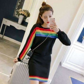 ICIKON3 Two Piece Dress Women 2018 Spring Vintage Rainbow Striped Long Sleeve Pullover Knitted Split Pencil Skirt Clothing Set  4167