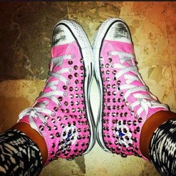 DCCKHD9 Studded Converse, Silver Rivet Studs with converse Pink high top by CUSTOMDUO on ETSY