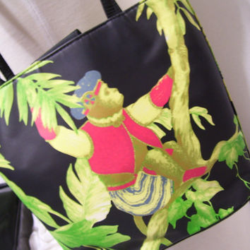 Jungle Monkey Safari Handbag Purse Pocketbook Tote Black Green Red Pale Lime Sequin Accents Whimsical Unique Home in the Rain Forest