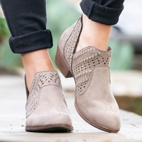 Redbud Laser Cut Booties | Taupe