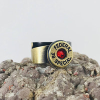 Bullet shell ring 38 special with red crystal, bullet jewelry, bullet ring, adjustable ring, bronze ring, gun girl