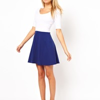 ASOS Skater Dress With Colourblock Skirt