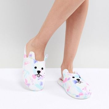 ASOS DESIGN Ned Grumpy Dog Slippers at asos.com