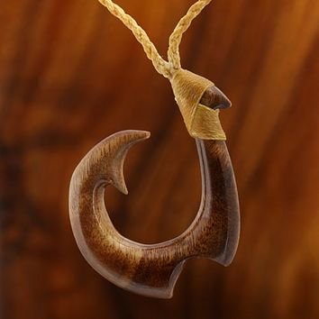 "Koa Wood Fancy Hand-made Fish Hook Necklace 28"" Adjustable"