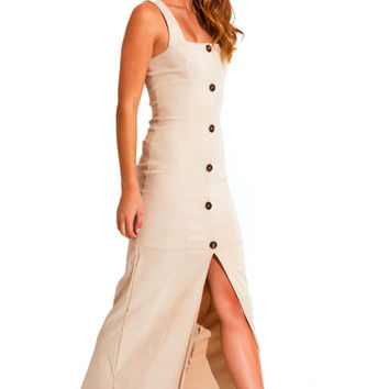 Military buttoned maxi dress