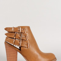 Buckle Strap Round Toe Ankle Booties