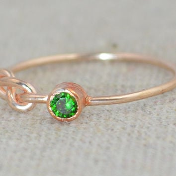 Emerald Infinity Ring, Rose Gold Filled Ring, Stackable Rings, Mother's Ring, May Birthstone, Rose Gold Ring, Rose Gold Knot Ring