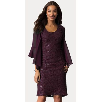 Plum Short Wedding Guest Dress with Chiffon Bolero Jacket