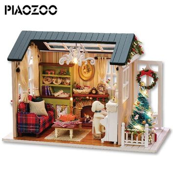 New Furniture Doll House Wooden Miniature DIY DollHouse Furniture Kit Assemble wood cabin Doll room diy Toys For children P20