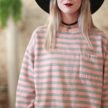 Vintage 1980s oversized small / medium loose fit pink and grey striped sweater / pullover sweatshirt w/ pocket / heather grey / pastel