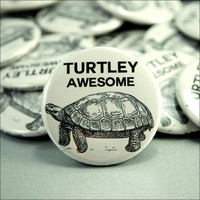 Pinback Button Turtle Black White Corny Joke Badge