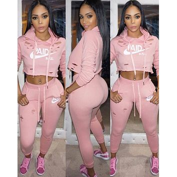 NIKE Tide brand women's classic letter printing personality casual sports suit two-piece pink