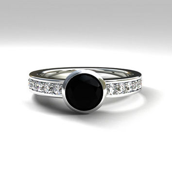 Black diamond engagement ring,  Bezel ring, solitaire, bezel, black diamond wedding, gothic, diamond solitaire, unique palladium ring