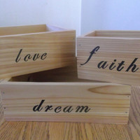 Wood Box, Home Decor, Stackable Boxes, Display Boxes, Storage Box Set of 3