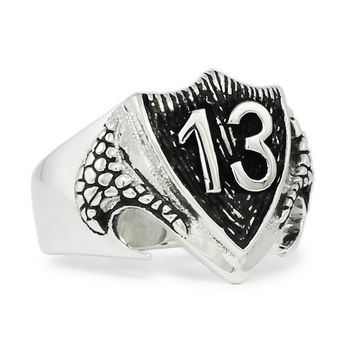 Sterling Silver 925 Luck number 13 1%er Outlaw Biker Ring on Dragon Shield - Custom Fitted Sizes