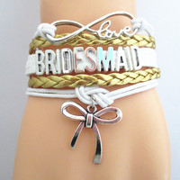 Infinity Love BRIDESMAID Bracelet gold white Customized