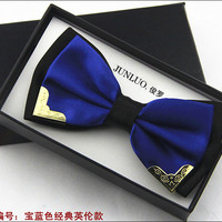 New Style Fashion Boutique Metal Head Bow Ties For Groom Men Women Butterfly Solid Bowtie Classic Gravata Cravat Freeshipping