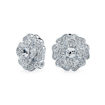 Bling Jewelry Bridal Clear CZ Pave Flower Clip On Earrings Rhodium Plated